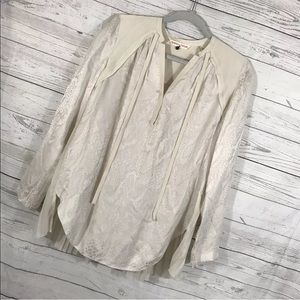 Rebecca Taylor Shirt Ivory Silk Long Sl Pleated 0